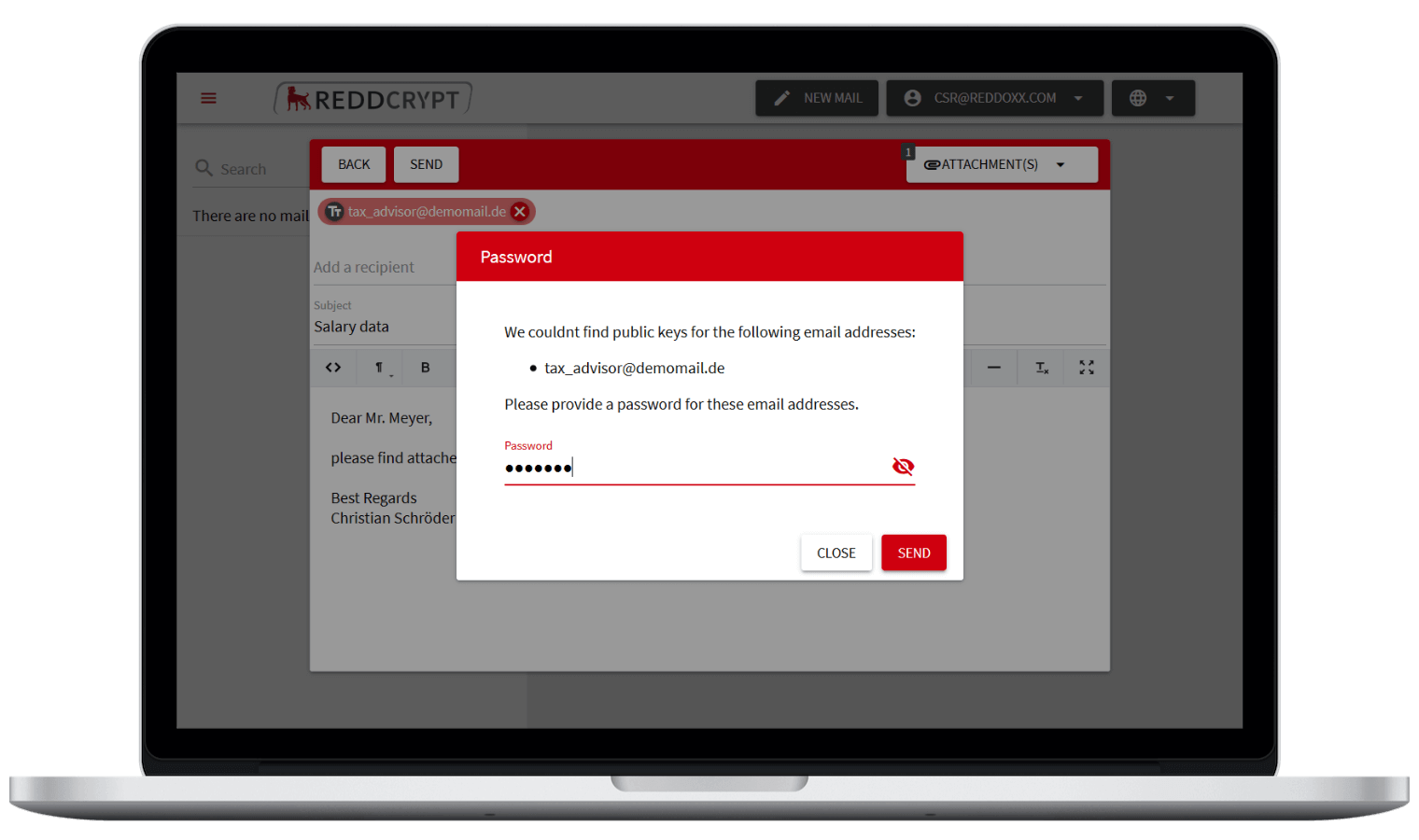 If the recipient is not a REDDCRYPT user yet, only a one time passphrase is needed to encrypt