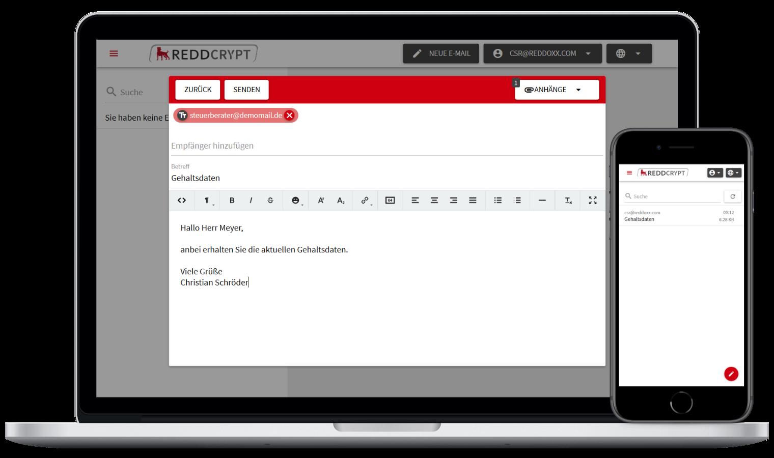 Mit der REDDCRYPT Web App kann Jeder kostenfrei seine E-Mails ver- und entschlüsseln