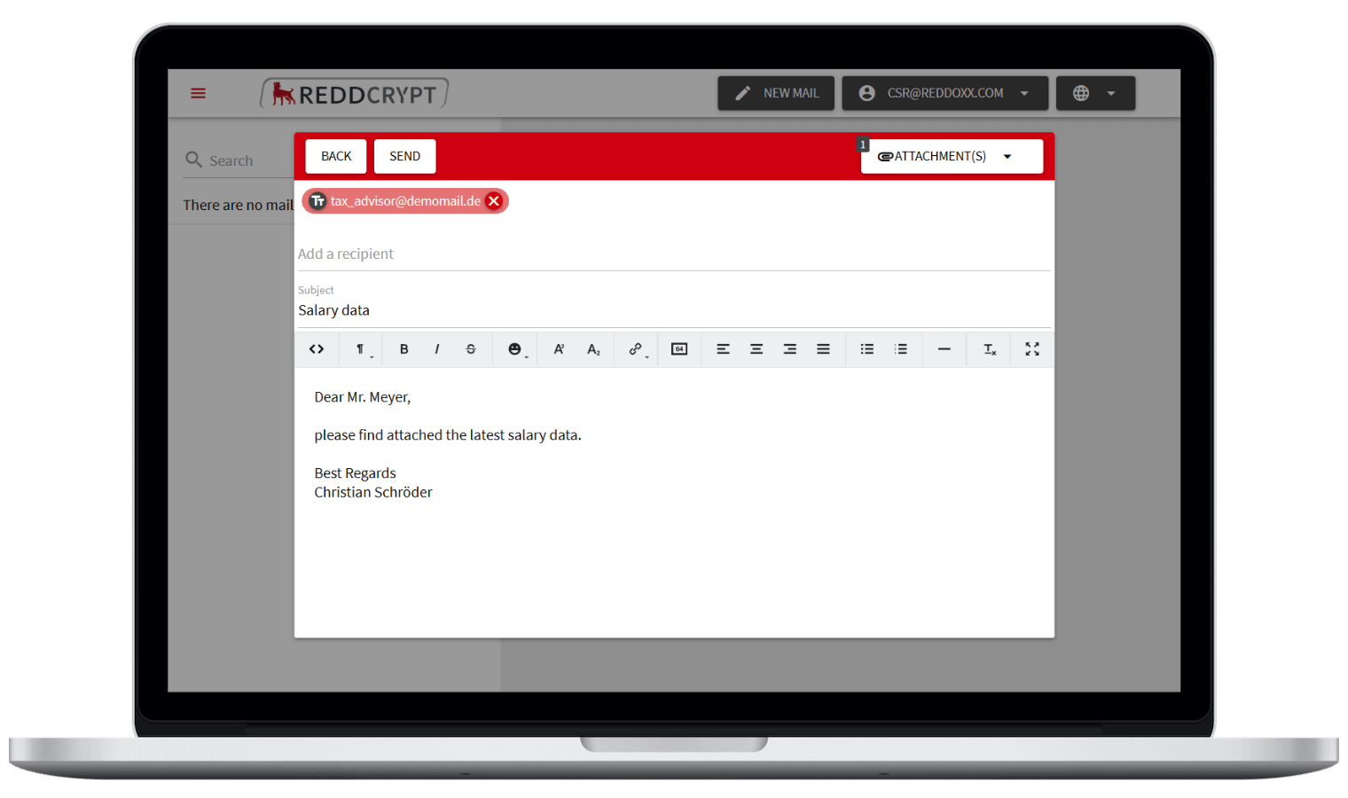 With the REDDCRYPT Web App you can encrypt and decrypt your e-mail on any device - without certificates