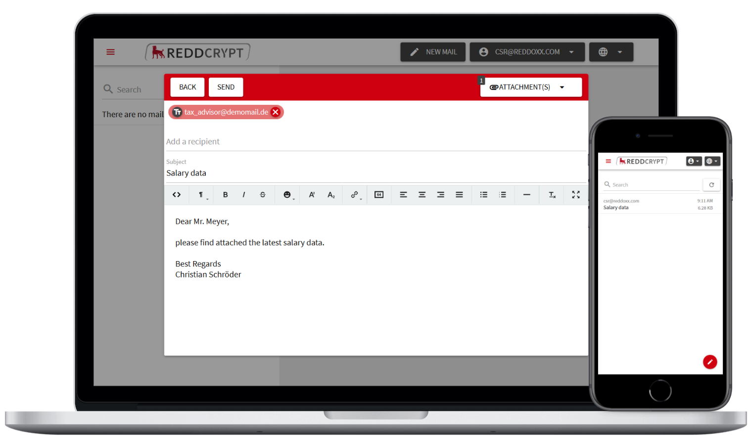 With the REDDCRYPT web app anyone can encrypt and decrypt their mails free of charge