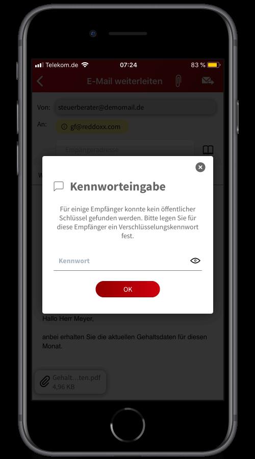 Sofern die Empfänger bisher kein REDDCRYPT verwenden, können Sie die E-Mail über eine Passphrase verschlüsseln