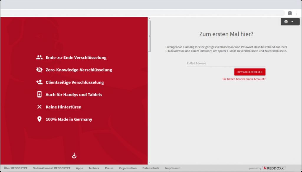 Der Account für REDDCRYPT kann kostenfrei an der Web App generiert werden