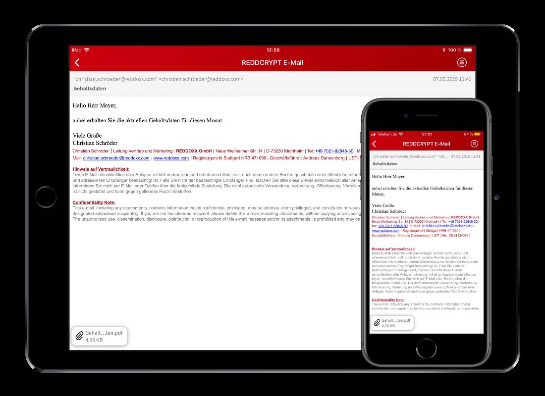 REDDCRYPT Smartphone Apps - E-Mailverschlüsselung auch unterwegs jederzeit möglich