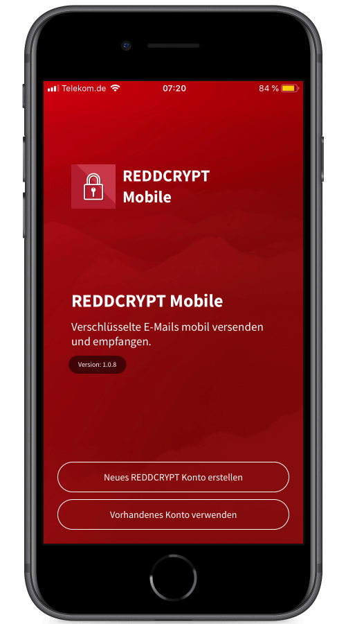 Nach der Installation der App können Sie sich in wenigen Sekunden einen REDDCRYPT Account erstellen