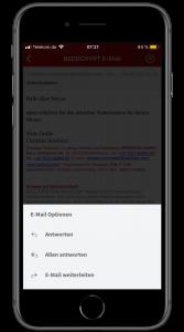 Sie können aus der Smartphone App heraus E-Mails beantworten oder an andere Empfänger weiterleiten