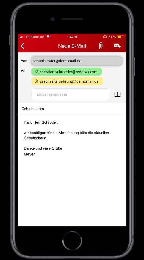 Wenn Sie eine verschlüsselte E-Mail über die Smartphone App versenden, sehen Sie direkt, ob der Empfänger ebenfalls REDDCRYPT nutzt