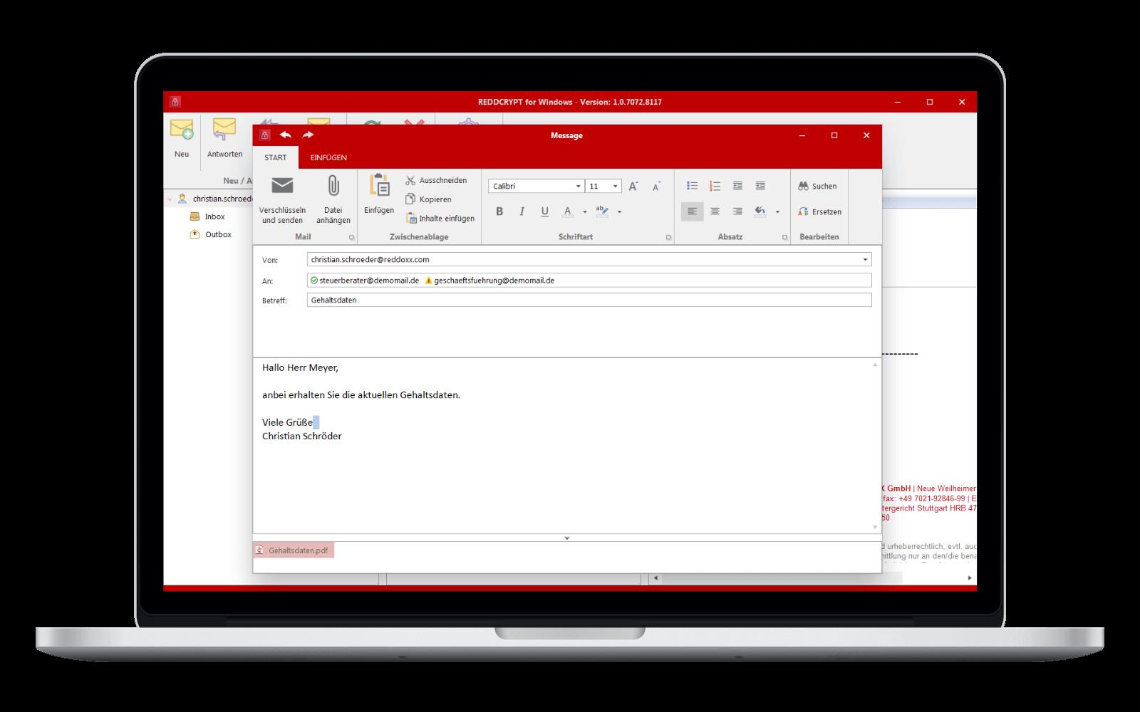 Die Windows App von REDDCRYPT stellt sich wie ein Mailclient dar und ist dadurch intuitiv bedienbar