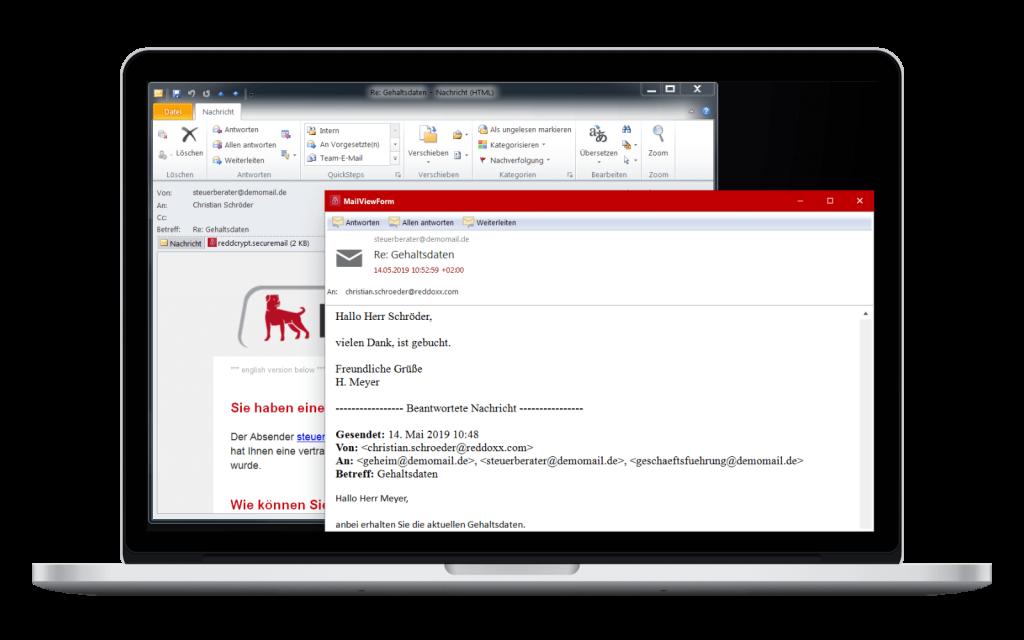 Die verschlüsselte E-Mail ist über die Windows App jederzeit lesbar