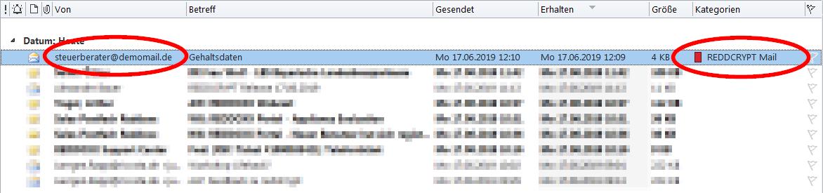 Entschlüsselte E-Mails werden im Outlook gekennzeichnet