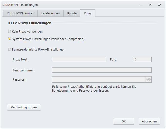 REDDCRYPT Proxyeinstellungen