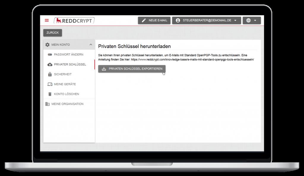 Das private Zertifikat kann in der REDDCRPYT Web App heruntergeladen werden