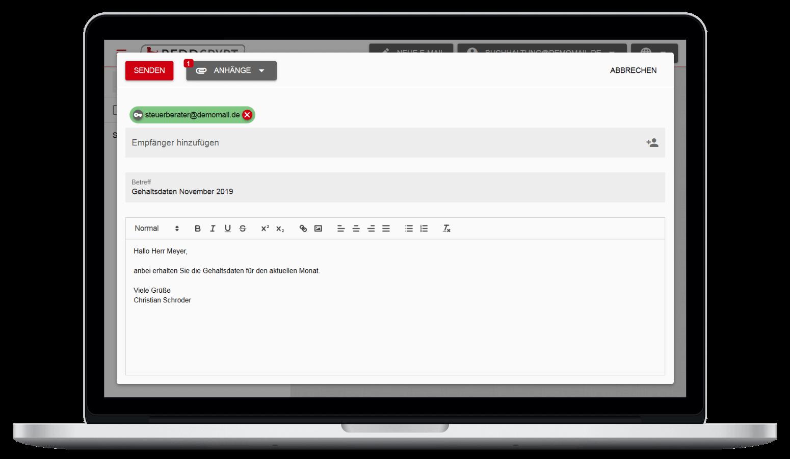 Mit der REDDCRYPT Web App können Sie Ihre E-Mail auf jedem Gerät ver- und entschlüsseln - ganz ohne Zertifikate