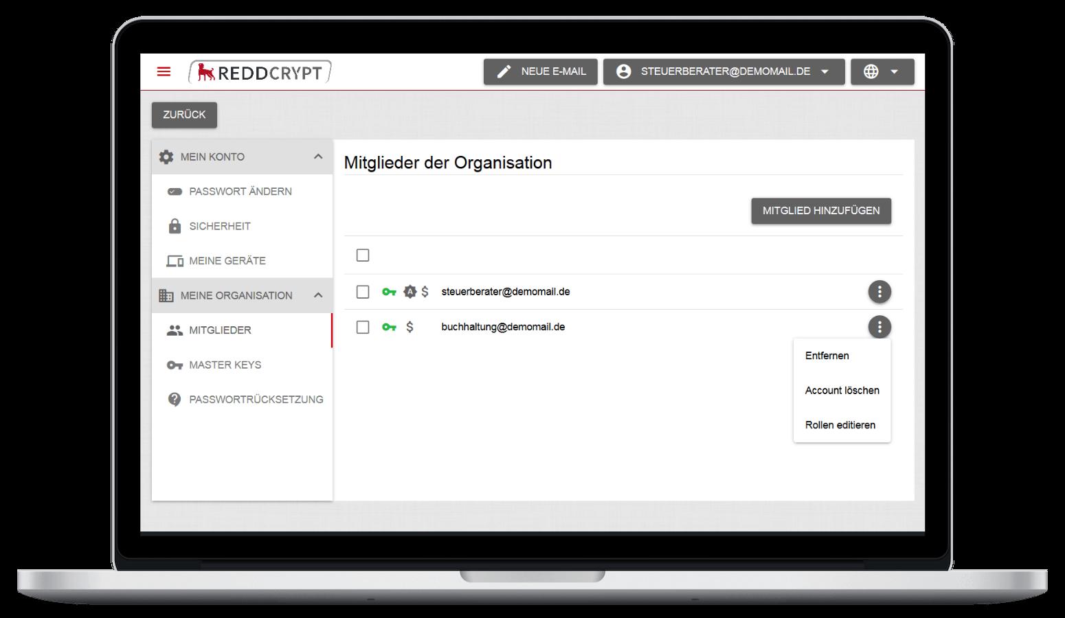 Mit der Nutzerverwaltung von REDDCRYPT Business hat der Administrator die volle Kontrolle