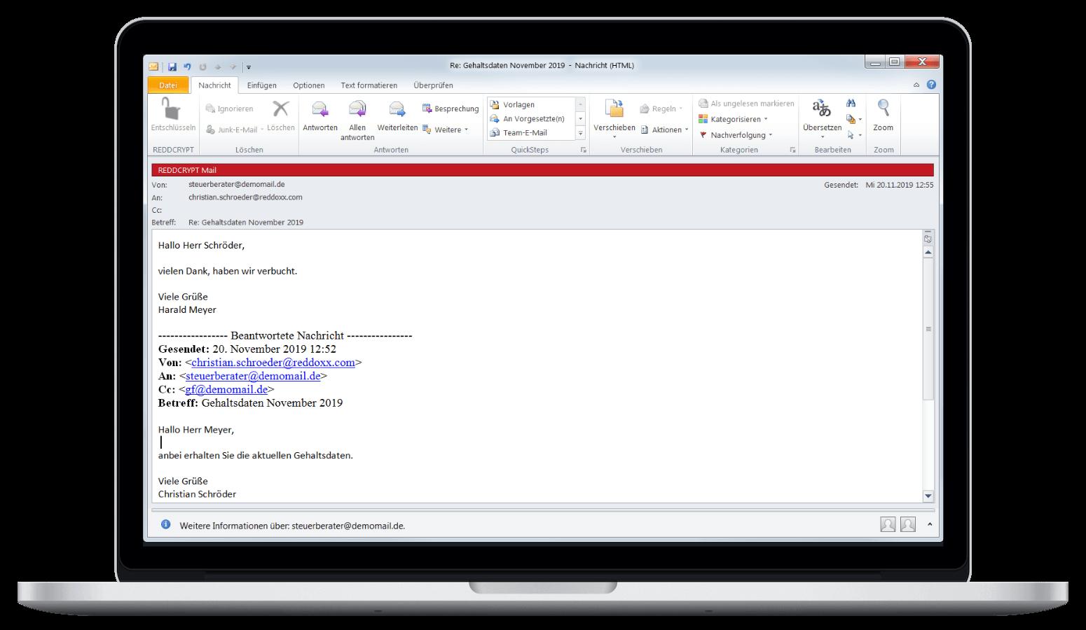 Nach der Entschlüsselung befindet sich die E-Mail im Klartext im Outlook
