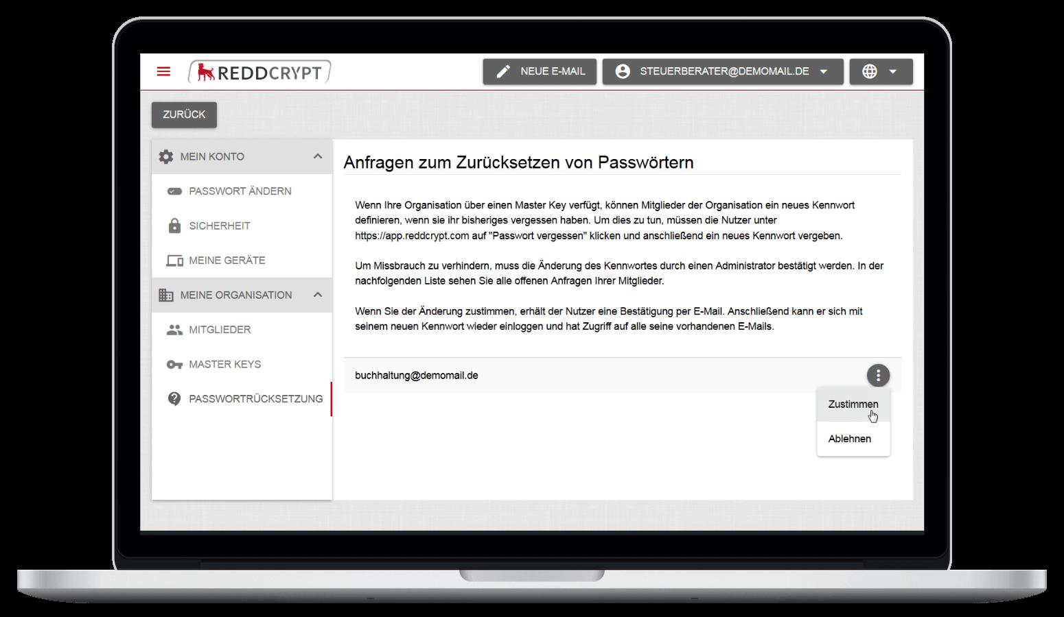 Mit Hilfe des Master Keys können bei REDDCRYPT Business die Kennwörter der Nutzer zurückgesetzt werden, ohne den Zugriff auf alte E-Mails zu verlieren
