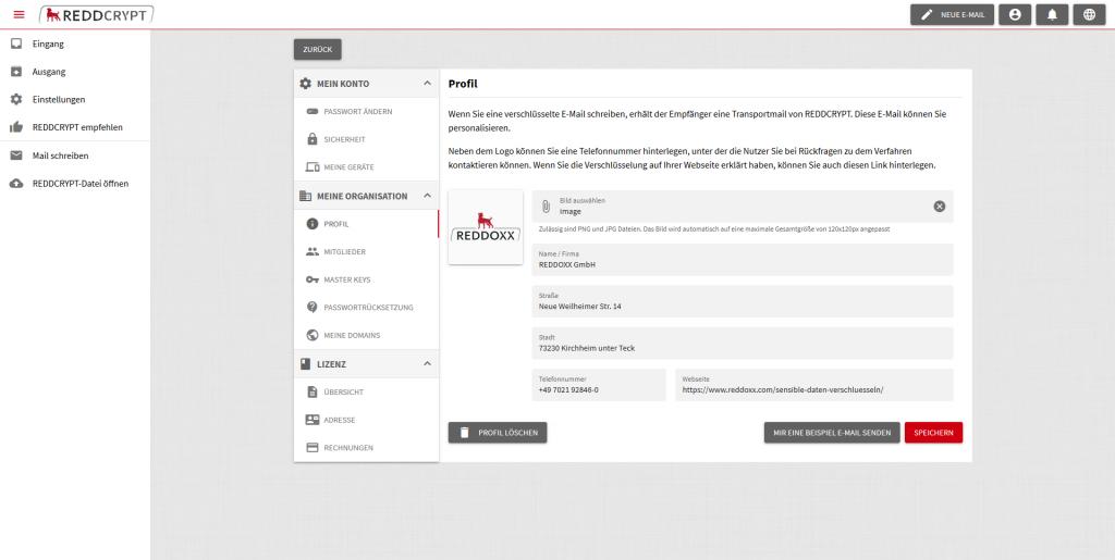 Einstellungen im Unternehmensprofil von REDDCRYPT Business, um die Transportmail an die eigenen Empfänger anzupassen