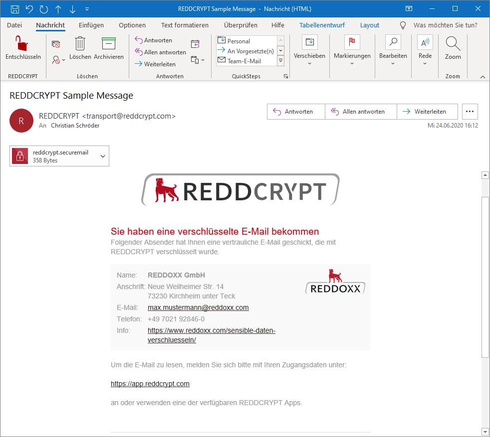 REDDCRYPT Beispiel E-Mail mit dem ausgefüllten Unternehmensprofil