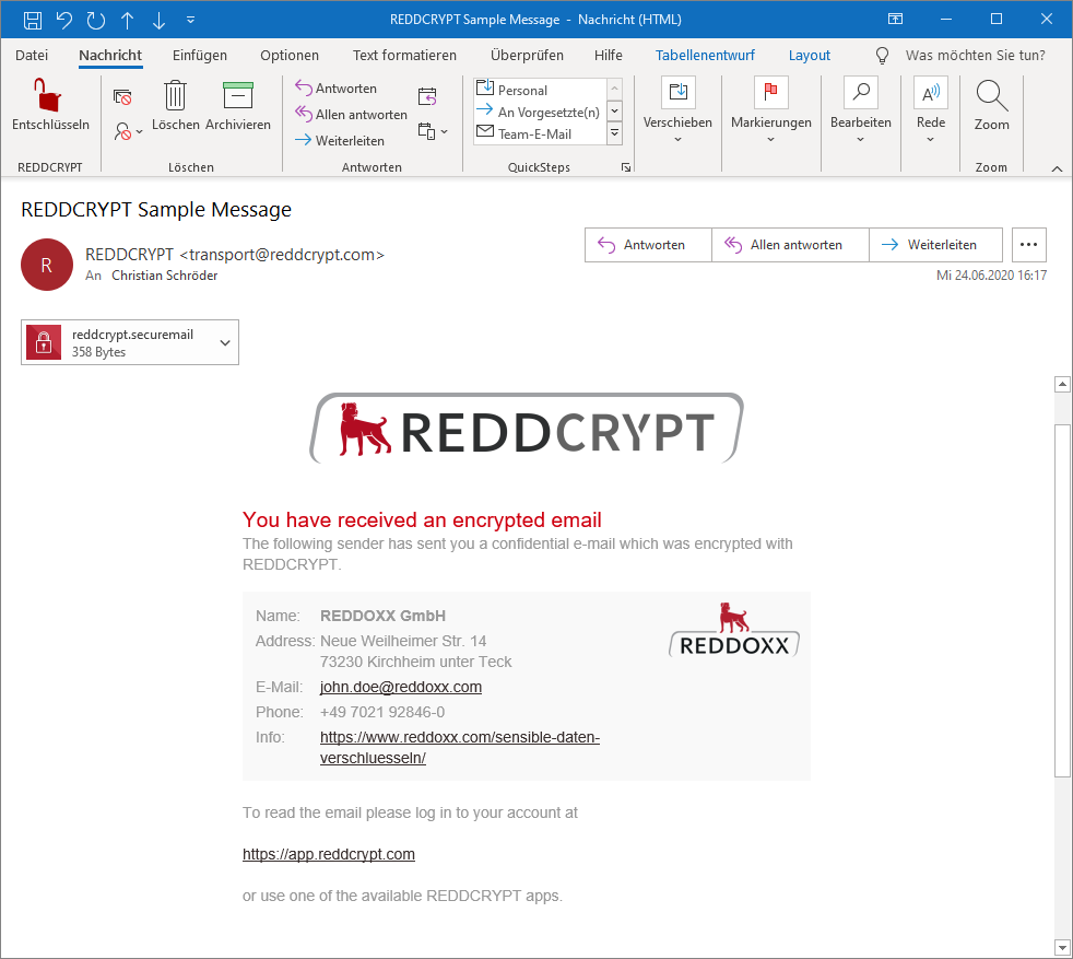 reddcrypt transportmail with company details