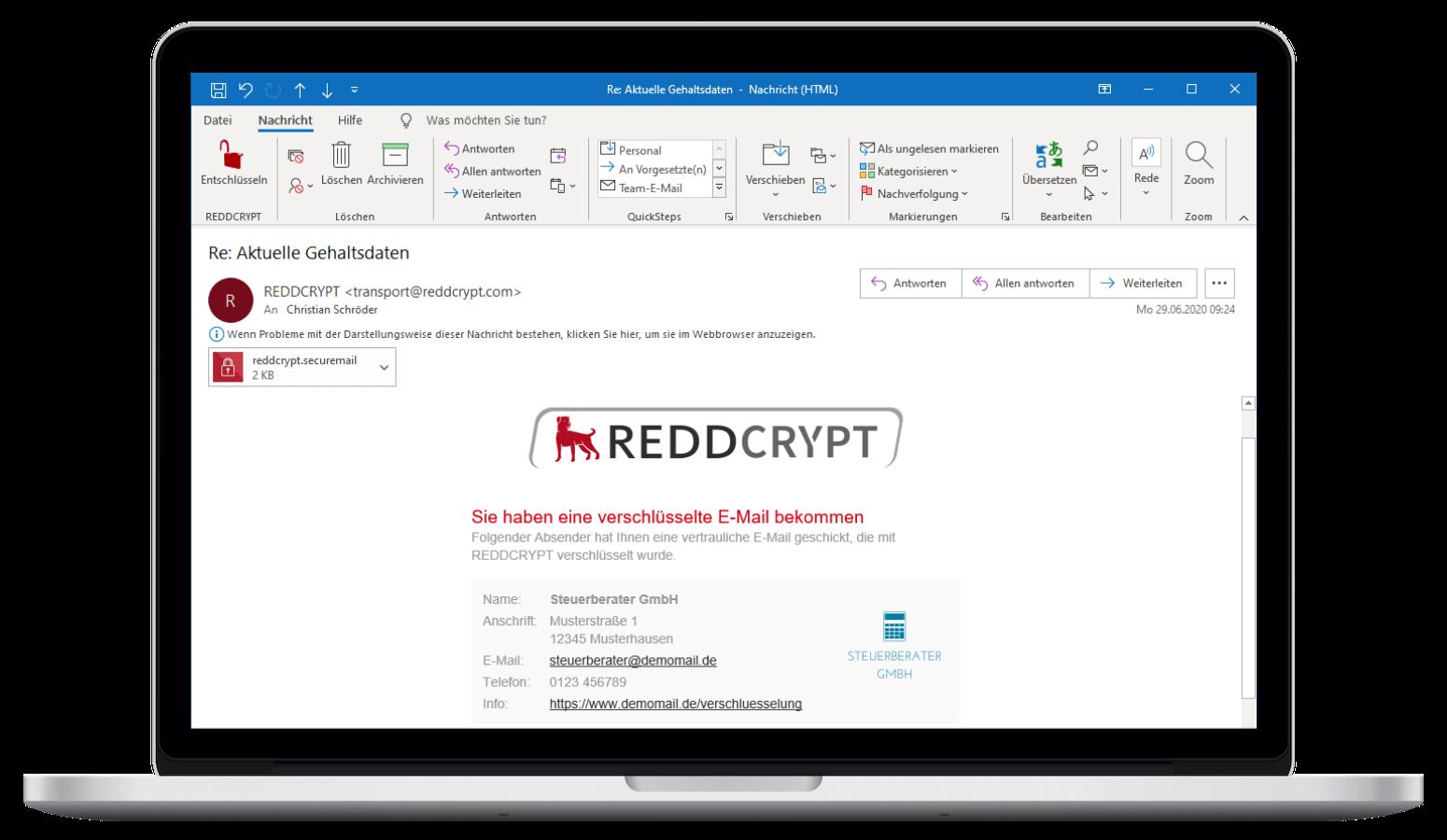 Die Entschlüsselung eingehender E-Mails erfolgt innerhalb von Outlook mit einem Klick