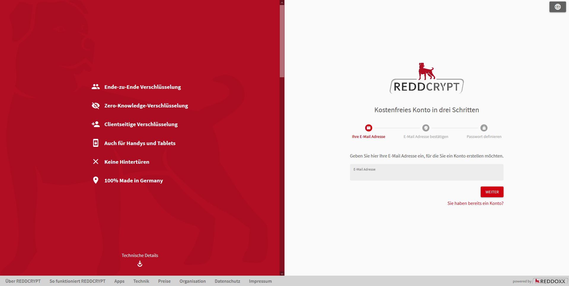 Jetzt kostenlos ein REDDCRYPT Konto erstellen