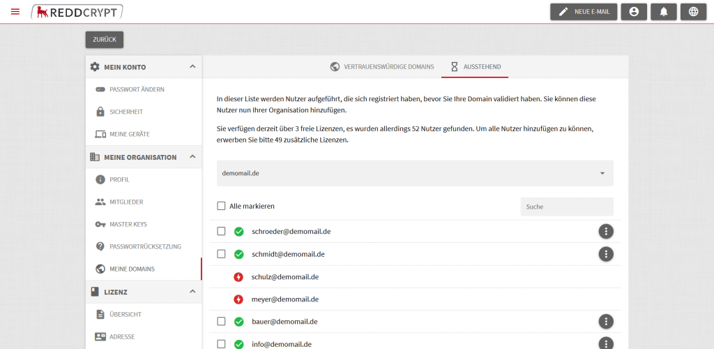 Nachdem Sie Ihre Maildomain validiert haben, zeigt Ihnen das System alle User hat, die bereits ein REDDCRYPT Konto haben